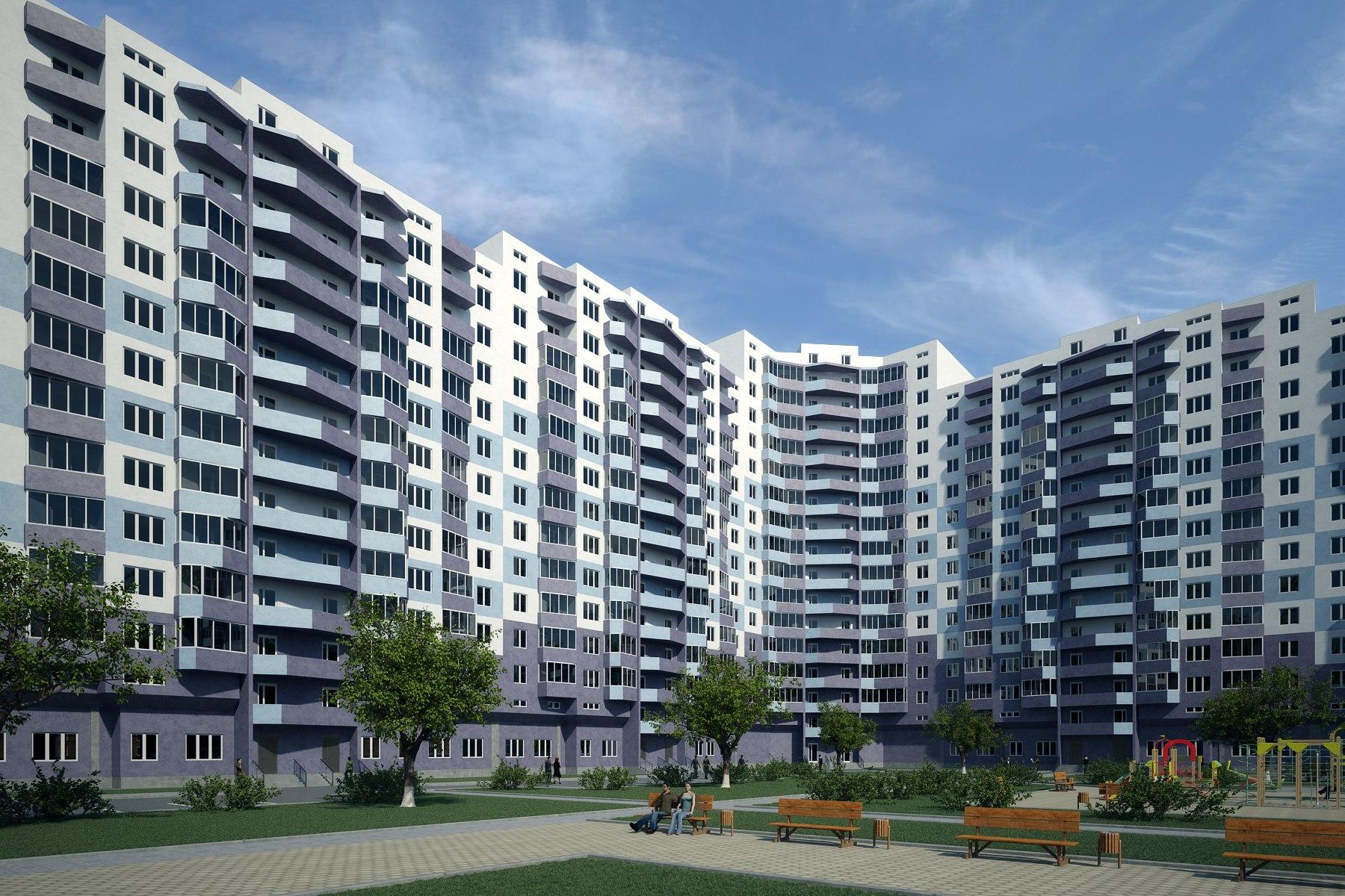 3d визуализация многоэтажных домов.